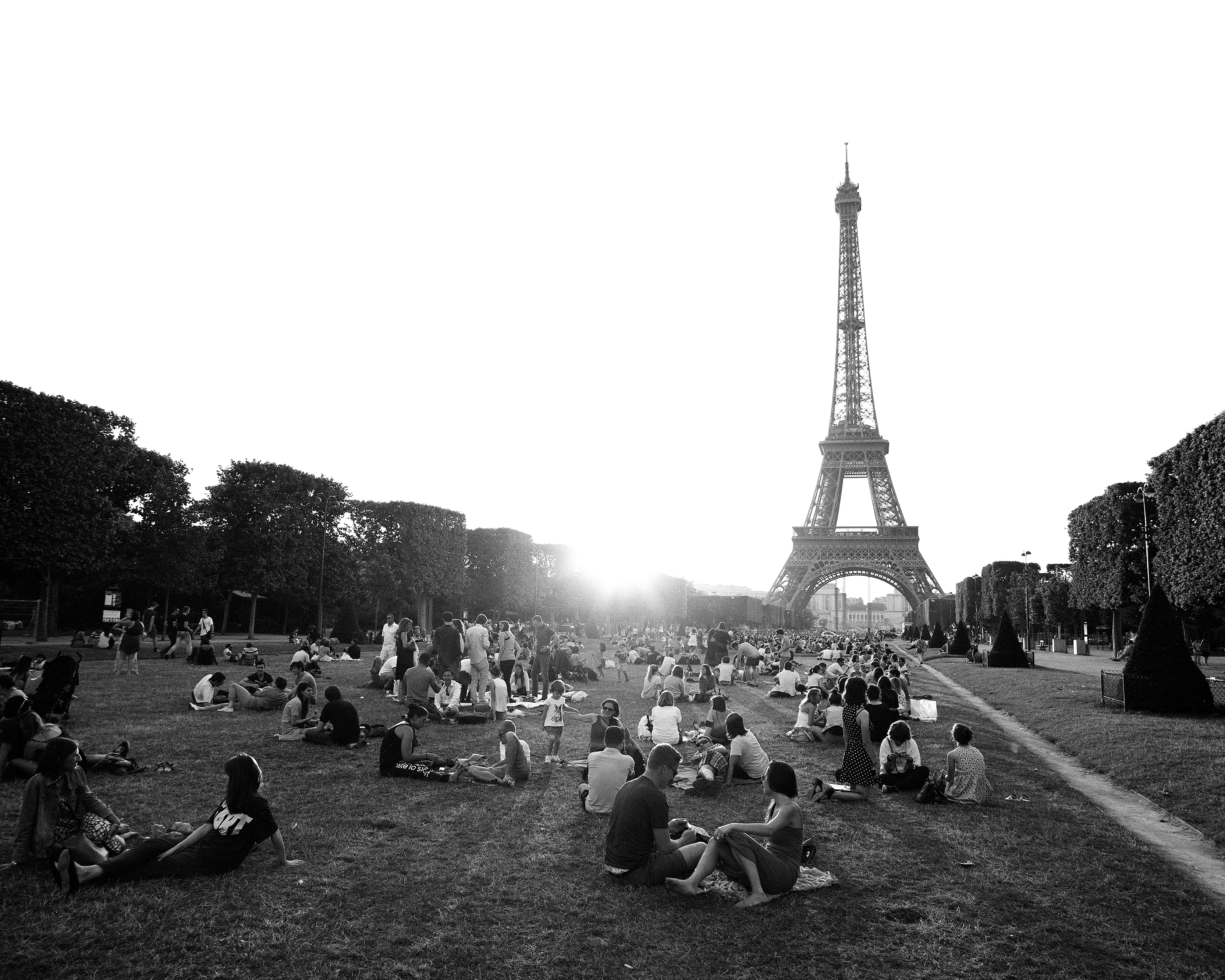 paris france people black and white champ de mars eiffel               tower pleasure fun relax street view art