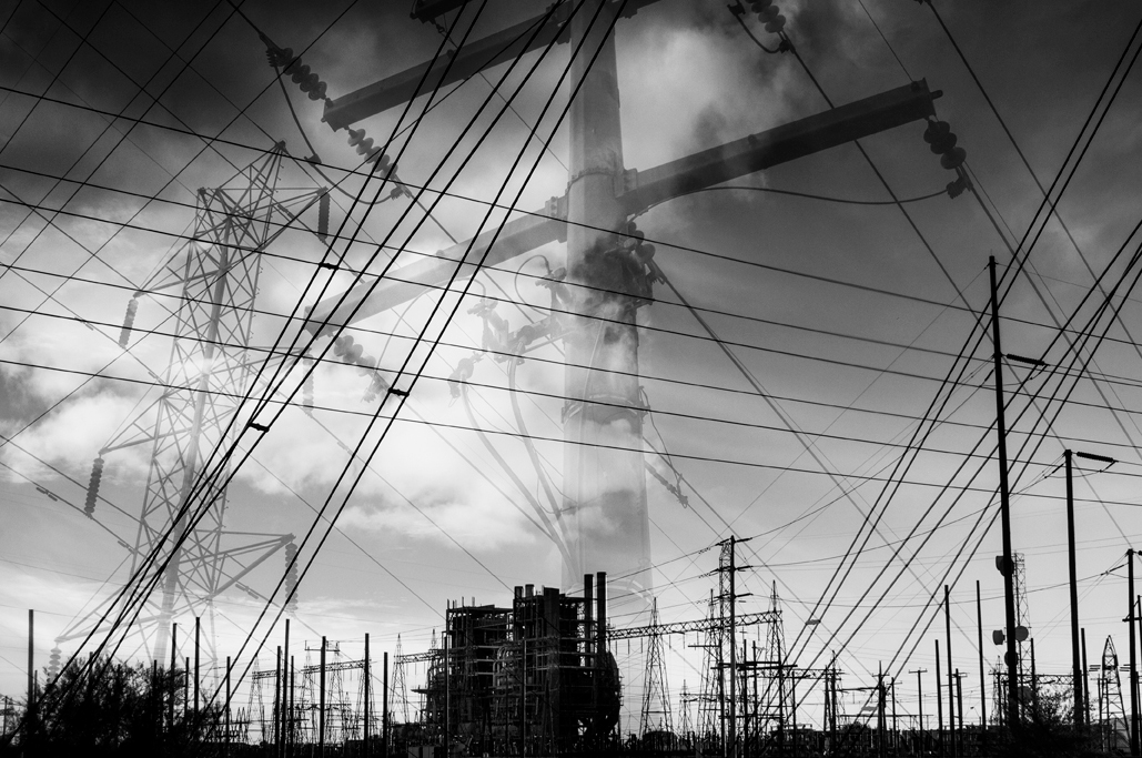 art black               and white graphic lines power industrial infrastructure               photomontage digital composition ocotillio powerplant ship